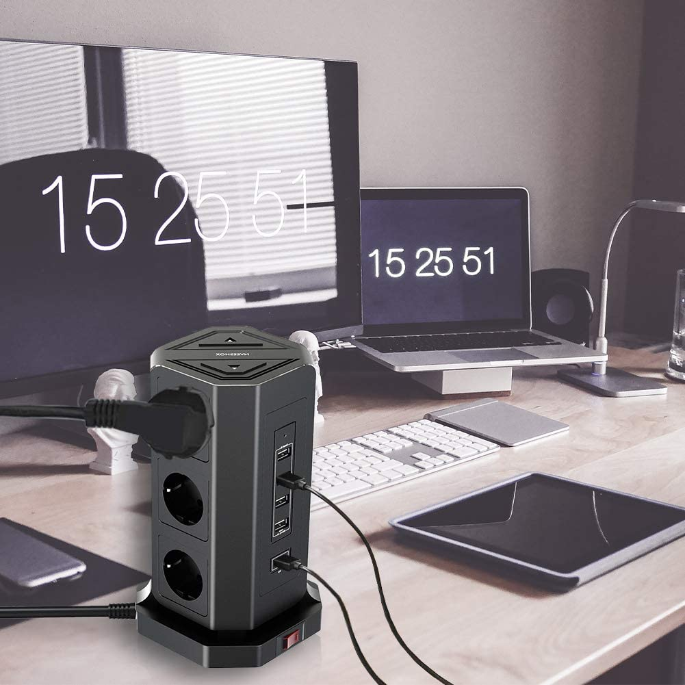 cable de 2 m regleta m/últiple protecci/ón contra sobretensiones para el hogar y la oficina NVEESHOX Regleta m/últiple de 9 enchufes torre con 4 puertos USB y 1 tipo C USB C 18 W con interruptor