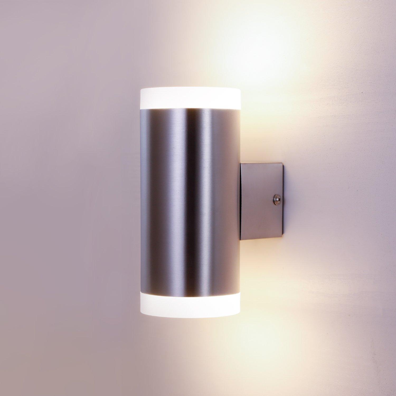 NBHANYUAN Lighting® Außenlampe LED Außenwandleuchte Up Down für Balkon, Haus Silber Edelstahl 3000K Warmweiß Licht 220-240V 1000LM 9W IP44 (Unten) HY004DN-1R