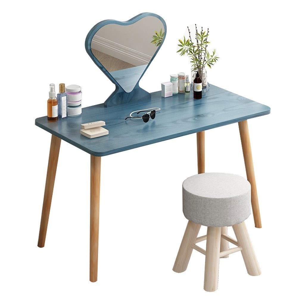 WM Home Eitelkeit Make-up Tisch mit herzförmigen HD Spiegel und Massivholz Tischbeinen Make-up Schminktisch Geschenk (Color : Blue)