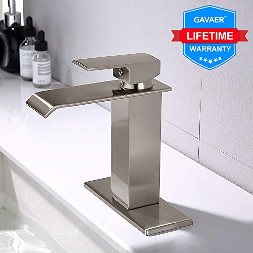 GAVAER Bathroom Faucet, Elegant Waterfall Effect Single Lever Hot and Cold Water Adjustment Bathroom Sink Faucet, Brushed Nickel Leadfree Solid Brass, with Deck Plate.