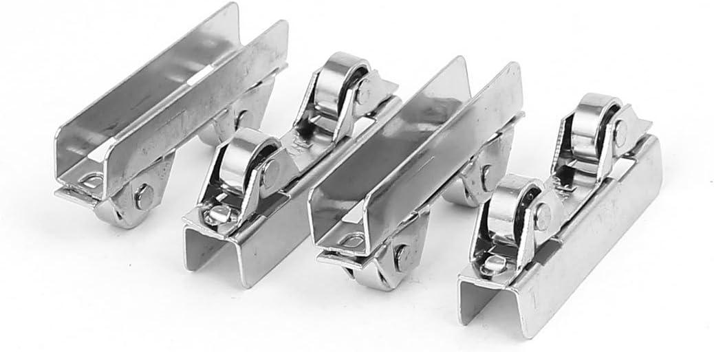 sourcingmap 50 mm de longitud doble ruedas de desplazamiento de cristal de la puerta del rodillo de la polea de plata tono 4pcs: Amazon.es: Bricolaje y herramientas