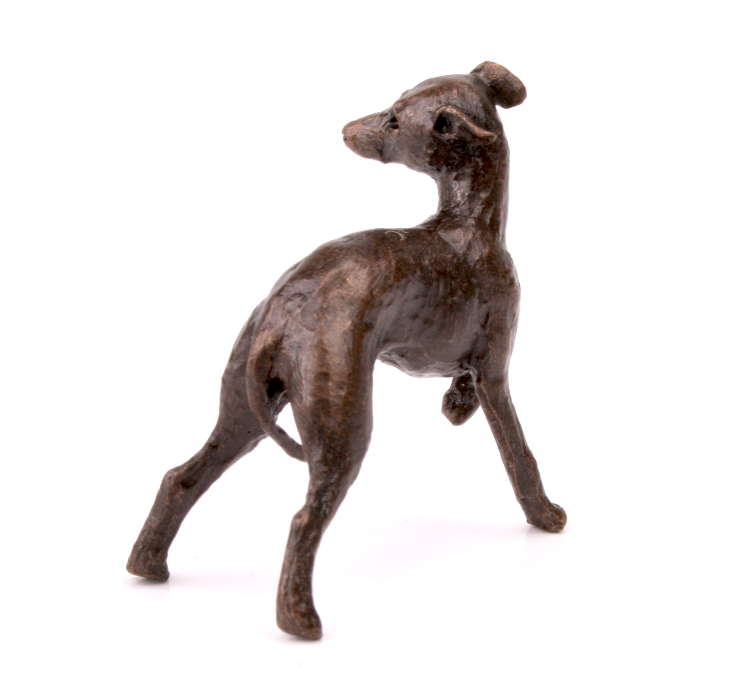 Whippet Dog  Solid Bronze Miniature Sculpture Butler and Peach Boxed 2060