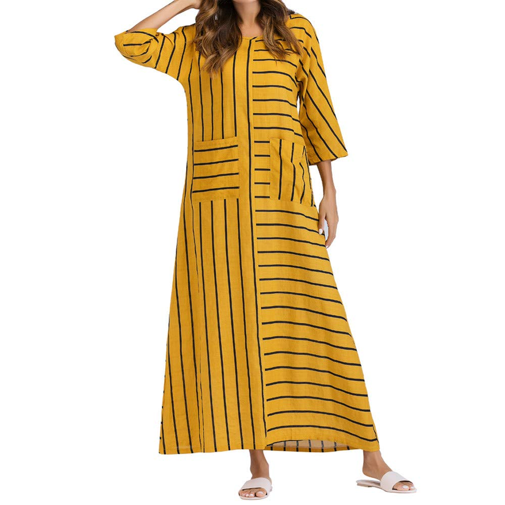 a3624b738c2b Voberry Women 3 4 Sleeve Cotton Linen Dress Casual Striped Loose Long Dress  Kaftan Plus Size Yellow  Amazon.in  Clothing   Accessories