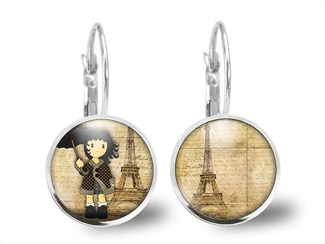 Idee Cadeau A Paris.Boucles D Oreilles Illustrees Avec Cabochon En Verre Visite