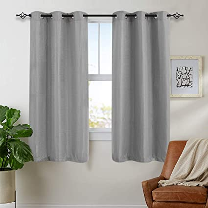 jinchan Textured Grey Curtains 63 inch for Bedroom Grommet Top Light  Filtering Window Treatment Set One Pair