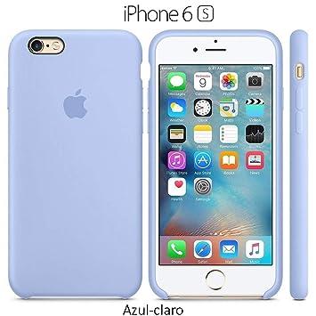 Funda Silicona para iPhone 6 y 6s Silicone Case, Textura Suave, Forro Microfibra (Azul-Claro)
