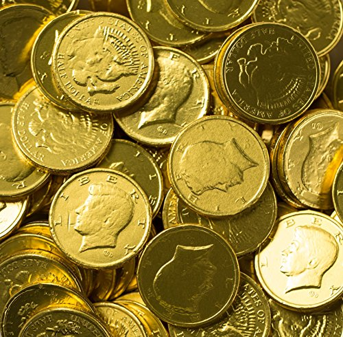 Solid Milk Chocolate Large Kennedy Gold Coins - 2 Full Pounds Bulk Wholesale by RiverFinn