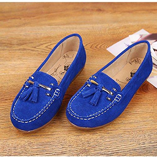 Mocassini Flat Heel Shoes Blu da Slip Scamosciata Scarpe On Barca Casual da Passeggio Mocassino Pelle in rTBEqrR