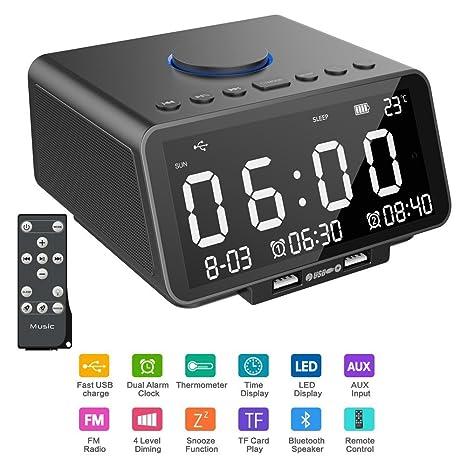 Alarm Clock Radio, Hetyre 5 5 Inch Digital Radio Alarm Clock, Bluetooth  Speaker with Dual USB Port, Gradual Wake-up, Sleep Option, Temperature/LED