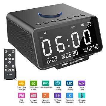 Hetyre - Reloj Despertador Digital con Radio de 5,5 Pulgadas ...