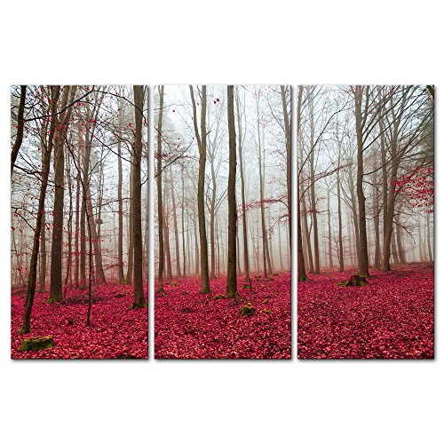 (My Easy Art 3 Pieces Modern Canvas Painting Wall Art The Picture for Home Decoration Magic Wood Red Leaf and White Fog Forest Landscape Print On Canvas Giclee Artwork for Wall Decor)