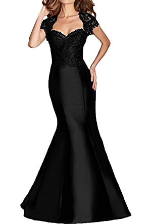DressyMe Womens Prom Formal Dresses Cheap Mermaid Sleeves Applique Sweetheart-2-Black