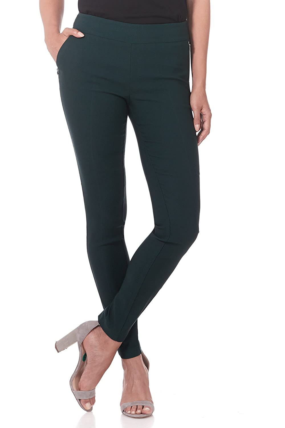 Hunter Green Rekucci Women's Ease in to Comfort Modern Stretch Skinny Pant w Tummy Control