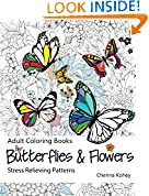 #10: Adult Coloring Book: Butterflies and Flowers : Stress Relieving Patterns (Volume 7)
