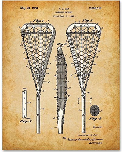 Lacrosse Stick Patent - 11x14 Unframed Patent Print - Great Gift for Lacrosse Players