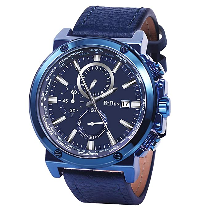 Amazon.com: Men Watches Fashion Analogue Quartz Chronograph 3 ATM Waterproof Wrist Watch with Blue Genuine Leather Band: Watches