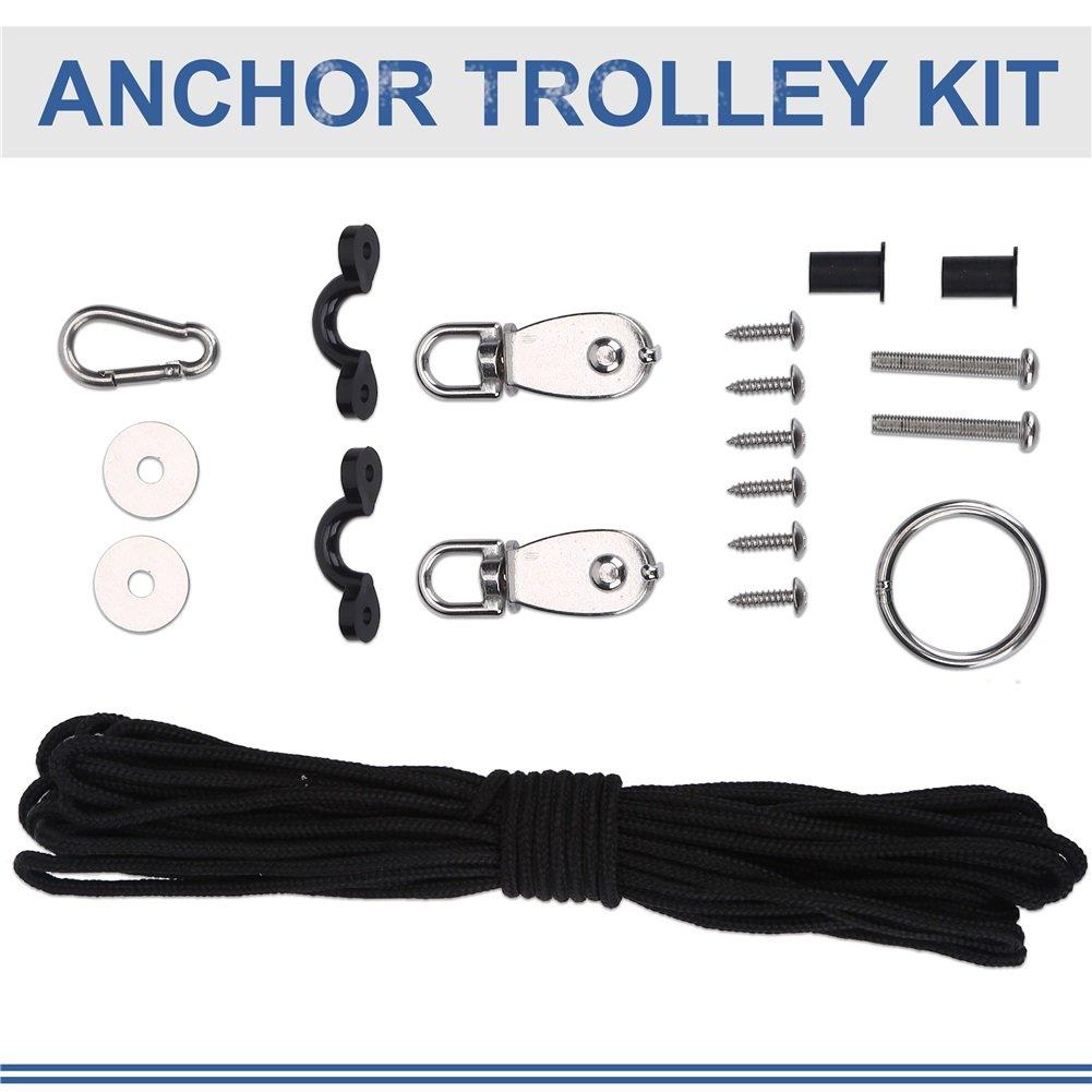 Kajak Anker Trolley Kit 10M Seile Anchor Zubehöre Riemenscheibe Karabiner für Kanus Boote VGEBY