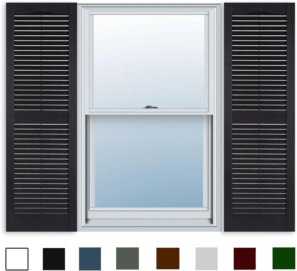 15 Inch x 59 Inch Standard Louver Exterior Vinyl Window Shutters, Black (Pair)