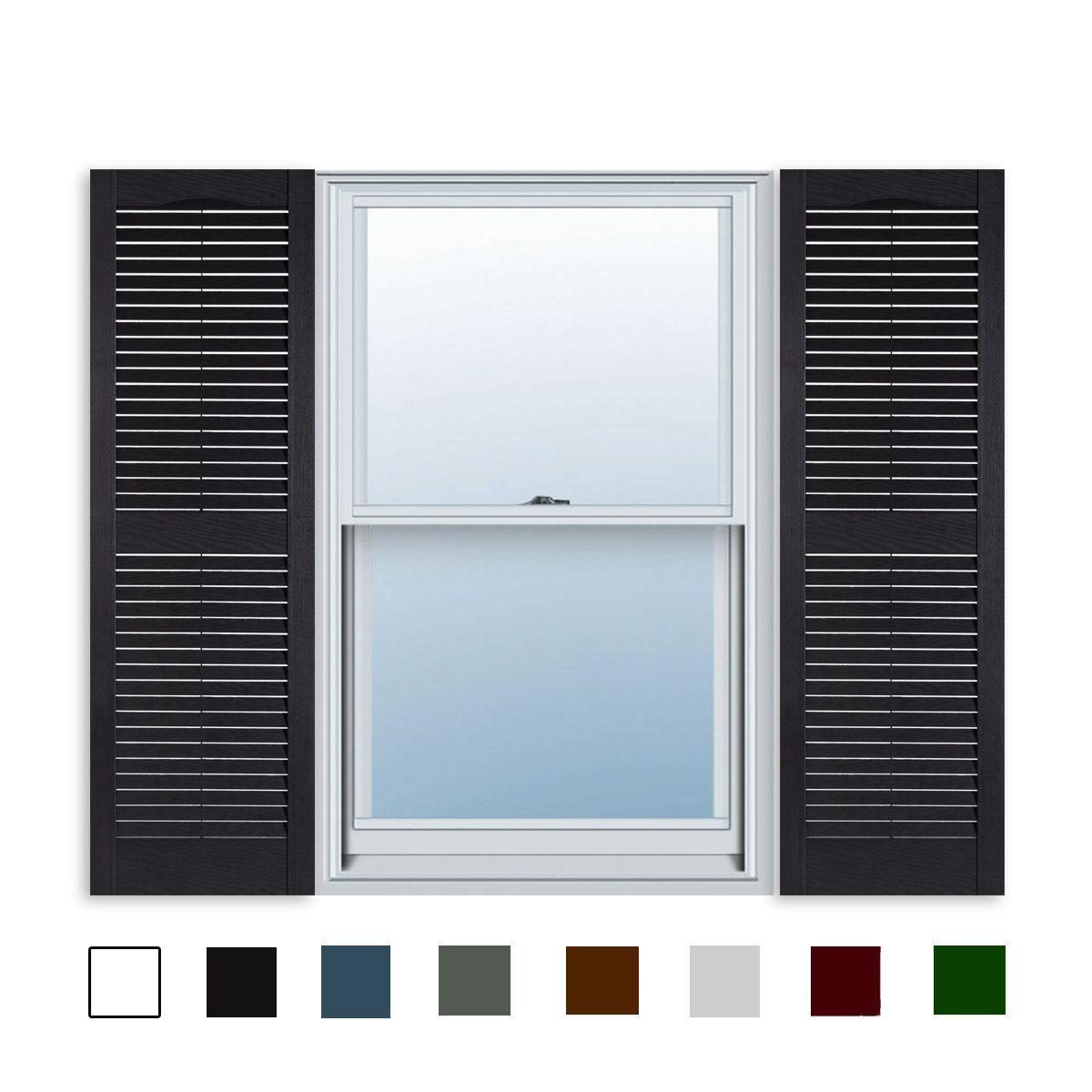 15 Inch x 47 Inch Standard Louver Exterior Vinyl Window Shutters, Black (Pair) by ExteriorSolutions.com