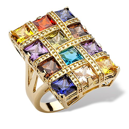 Palm Beach Jewelry 18K Yellow Gold-plated Square Cut Multi-color Cubic Zirconia Checkerboard Ring Size - 26 Checkerboard Mm