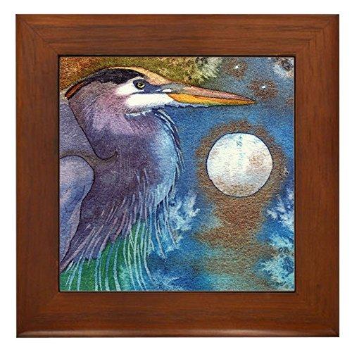 - CafePress - Blue Heron and Bronze Moon Framed Tile - Framed Tile, Decorative Tile Wall Hanging