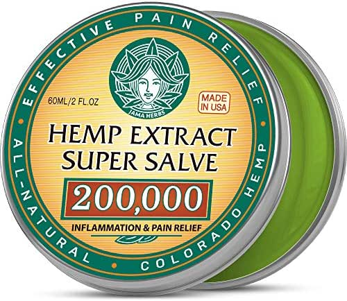 Hemp Cream Super Salve - Made in USA - Natural Pain Relief Salve with 200,000 Raw Extract - Easy Back Pain & Arthritis treatment - Super Balm for Sore Muscles, Nerve Pain and Workout Injures - 2OZ