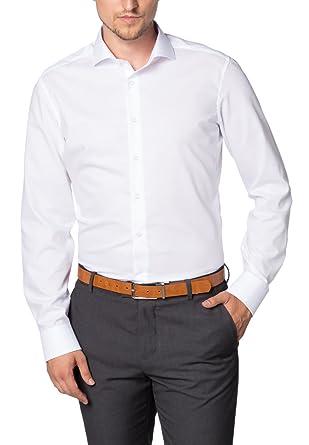 Herren Hemd Langarm Slim Fit 37, Weiss