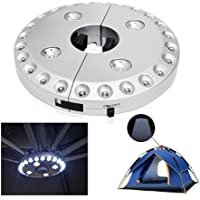 Lampe sans fil pour parasol/terrasse avec 24+ 4LED, idéale pour le camping, les tentes, et une utilisation en extérieur - argenté