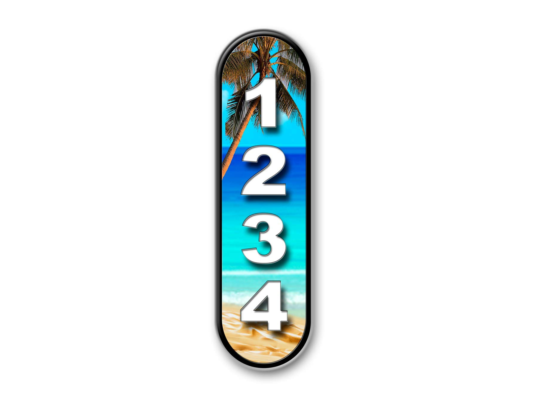 Blue Beach, Vertical, Curb, Mailbox, House Address Plaque, Reflective... by West Coast Curb-N-Sign