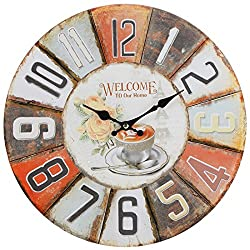 Lily's Home Rustic Vintage Inspired Decorative French Bistro Wall Clock, 13 Inch