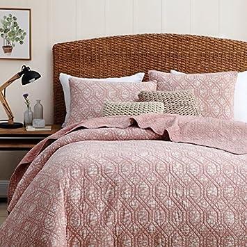 Bourina Quilted Bedspread Coverlet Set Quilted- Reversible Microfiber Lightweight Bedspread Oversized 3-Piece Quilt Set Queen, Pink BORI-3PC-SXQuilt-Pink-Queen
