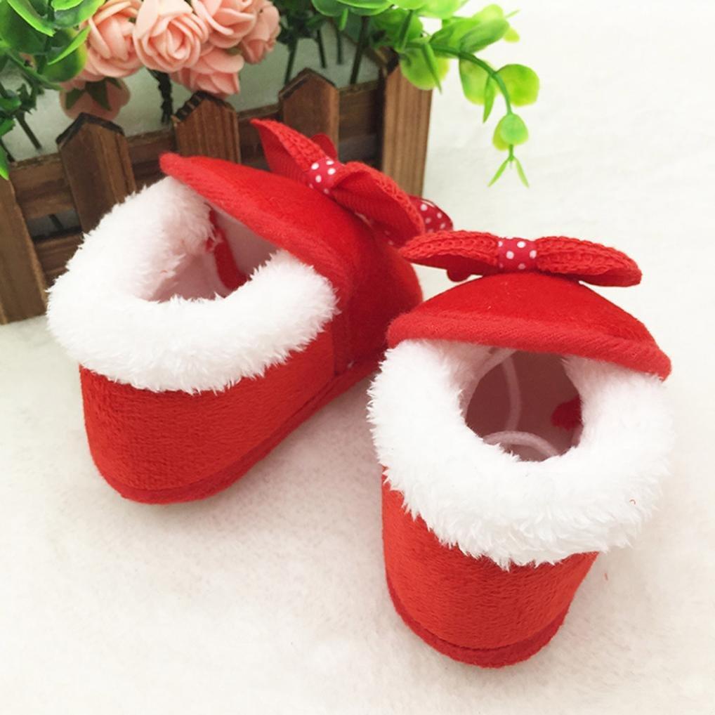 Kolylong Newborn Baby girl Bowknot short Soft Sole Boots Prewalker Warm Shoes
