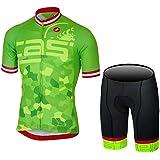 DOKEA サイクルジャージ上下セット/男性用自転車サイクルウェア半袖/吸汗速乾/通気がいい/春夏用上下セッド
