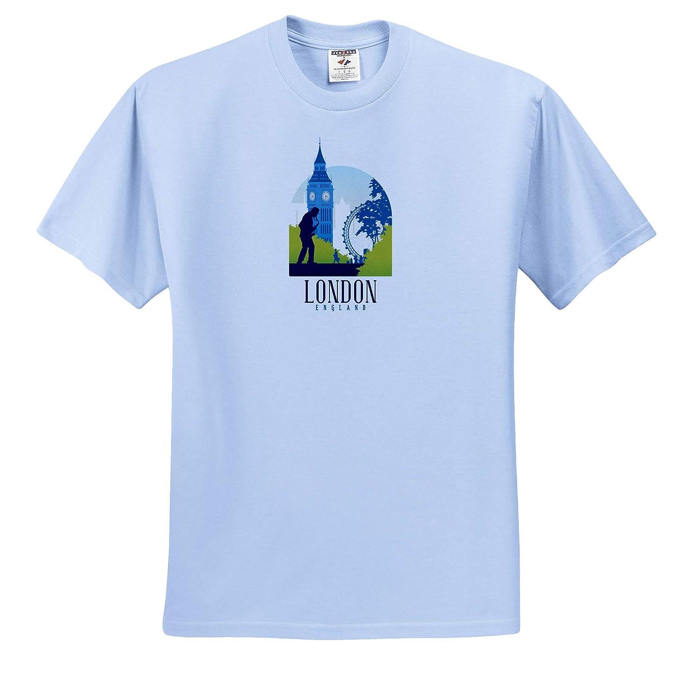 Adult T-Shirt XL London England Retro Design with Big Ben Clock 3dRose Sven Herkenrath City ts/_310998