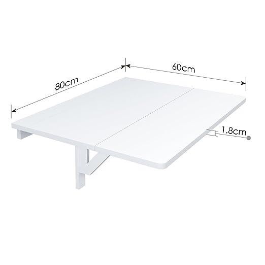Opinioni per HOMFA Tavolo da Muro in Legno Bianco, Tavolino