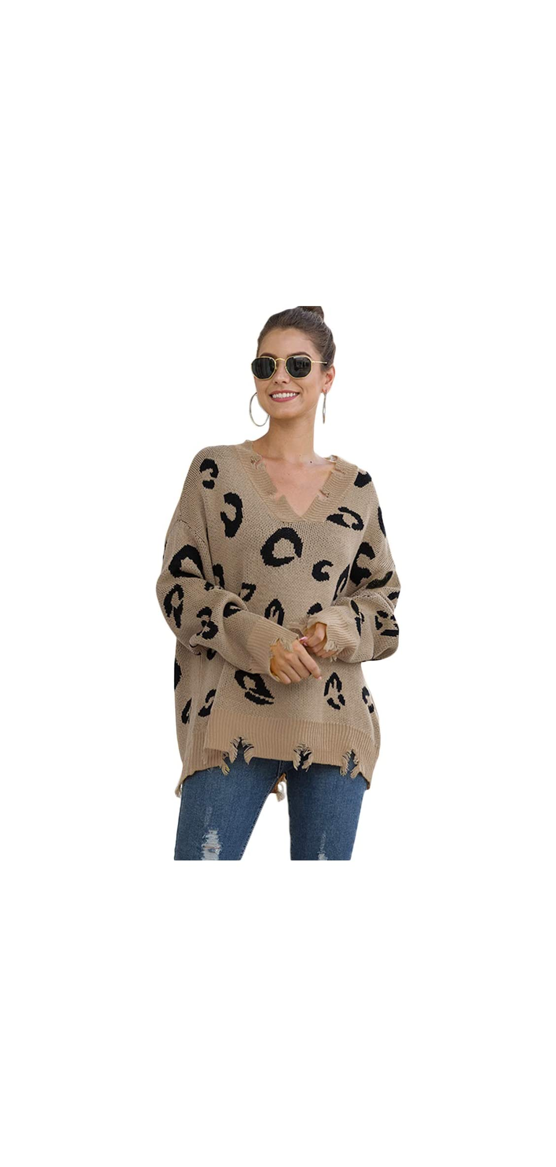 Women Distressed V Neck Knit Fall Loose Pullover Leopard
