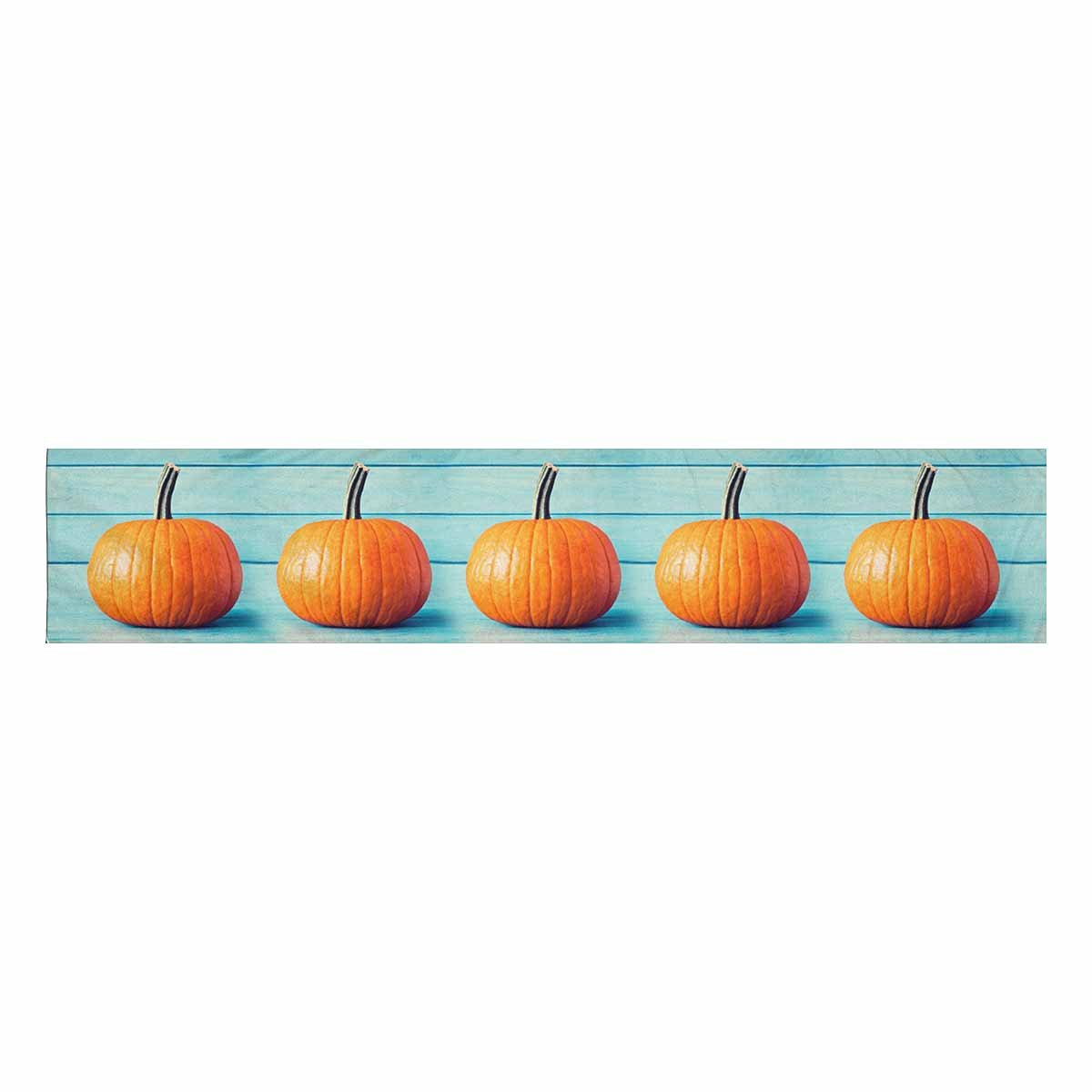 InterestPrint Halloween Decoration Pumpkin over Turquoise Colored Wood Table Runner Linen & Cotton Cloth Placemat Home Decor for Wedding Banquet Decoration 16 x 72 Inches by InterestPrint (Image #2)