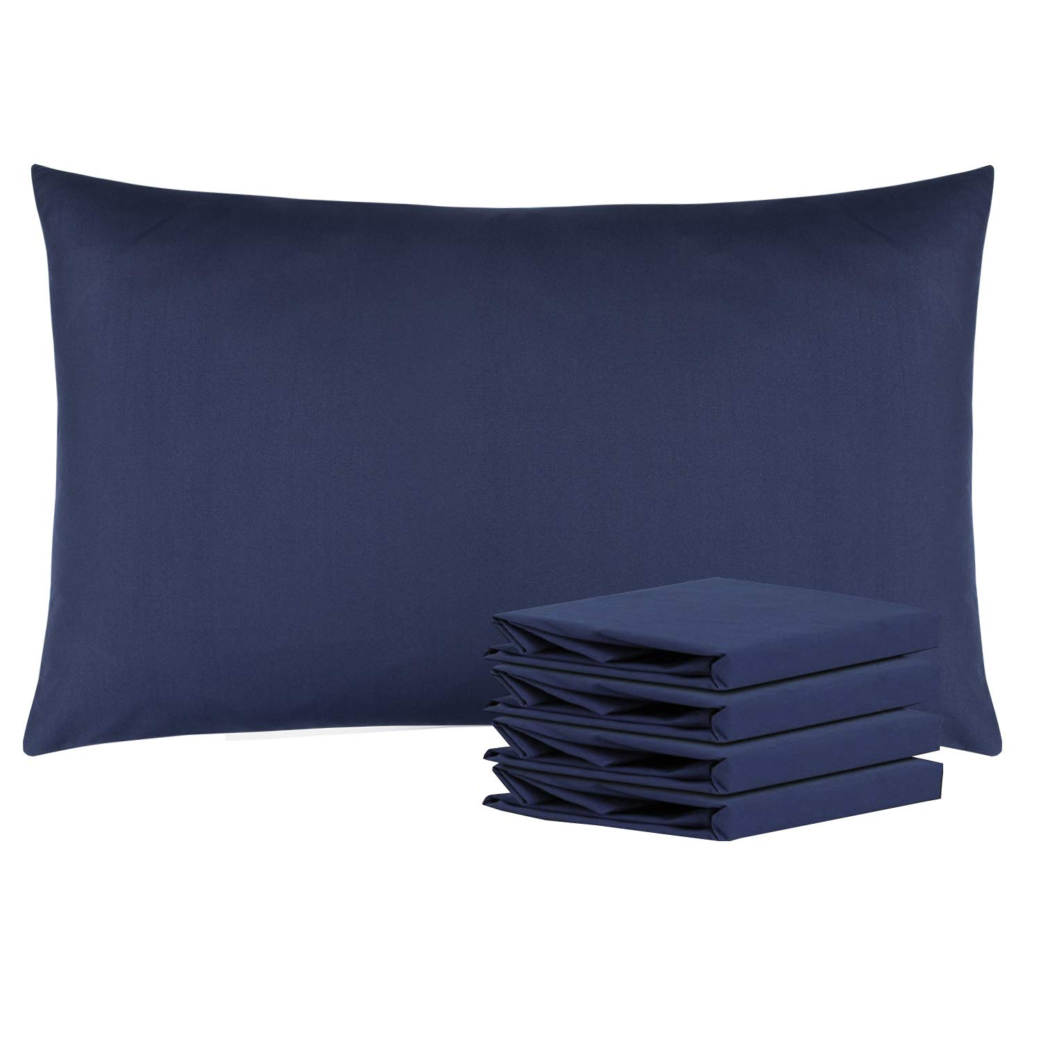 NTBAY Queen Pillowcases Set of 4, 100% Brushed Microfiber, Soft and Cozy, Wrinkle, Fade, Stain Resistant, with Envelope Closure, Navy