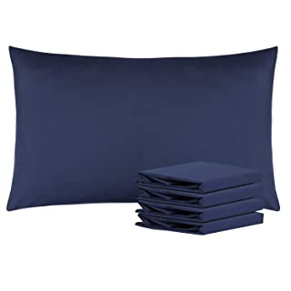 "NTBAY Queen Pillowcases Set of 4, 100% Brushed Microfiber, Soft and Cozy, Wrinkle, Fade, Stain Resistant with Envelope Closure, 20""x 30"", Navy"