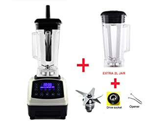 Automatic Digital Smart Timer Program 2200W Heavy Duty Power Blender Mixer Juicer Food Processor Ice Smoothie Bar Fruit,White jar full part,EU Plug