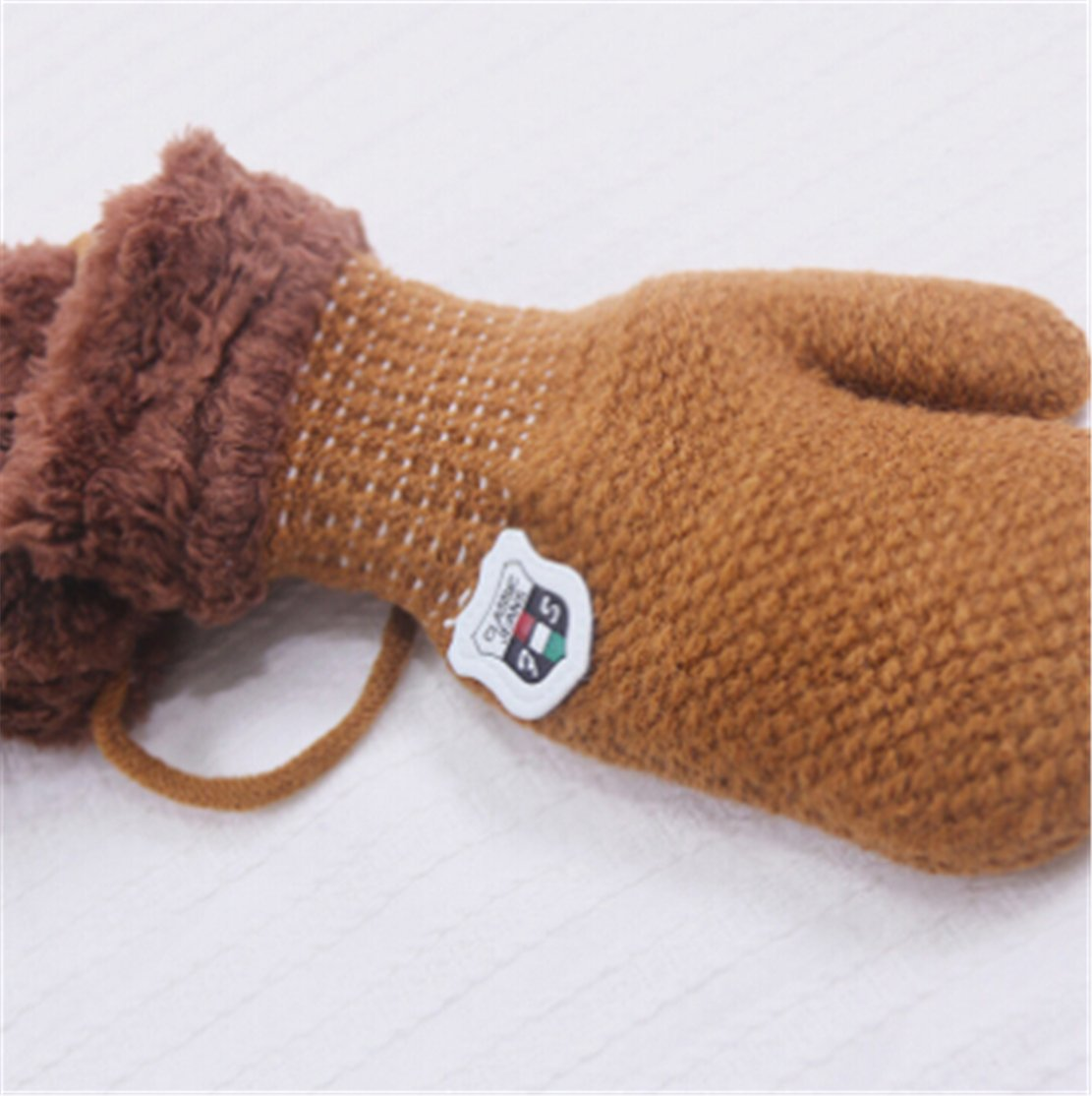 SUNMUCH 1 Pair Winter Baby Cute Thick Gloves Mittens with String (0-12 Months)