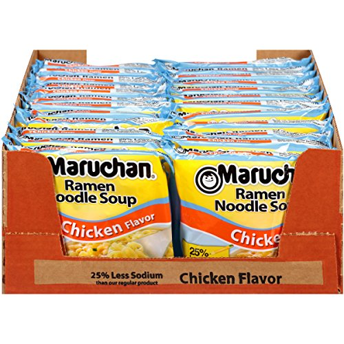 Maruchan Ramen Less Sodium Chicken, 3.0 Oz., Pack of 24 (Chicken Soup Maruchan)