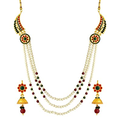 8a98c6e97 Buy Voylla White Metal Multi-Strand Necklace With Earrings Set For ...
