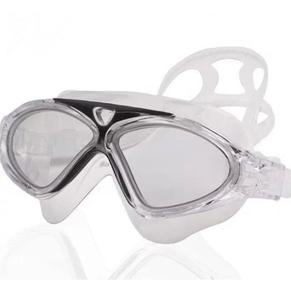 大きなフレームSwim Goggles、favolook曇り止めUV保護シールSwimマスクトライアスロンクリア密封リング水泳ゴーグルフィット大人用メンズレディースユース  ブラック B072ZYWK3Q
