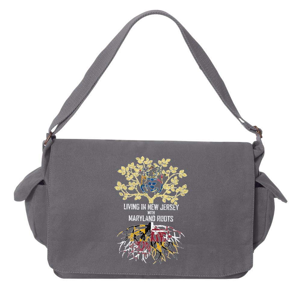 Tenacitee Living In New Jersey with Maryland Roots Grey Brushed Canvas Messenger Bag