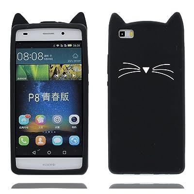 Funda Huawei P8 Lite, Carcasa Huawei P8 Lite, TPU Premium Antirrayas [ Negro Diseño 3D gato ] Funda Ultra Slim Fashion Cute Cute Girls para Huawei P8 Lite