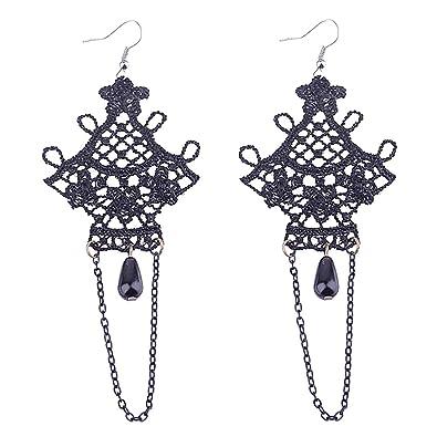 11f263717 MagiDeal Dentelle Boucles d'Oreilles Noir Pendantes d'Oreilles Gothiques  Perles Glands Longs Bijoux