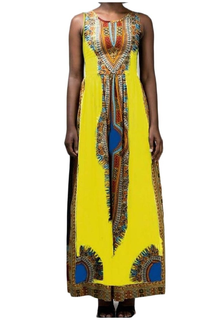 Sebaby Women High Waisted African Dashiki Sleeveless Full Length Dress Yellow XS
