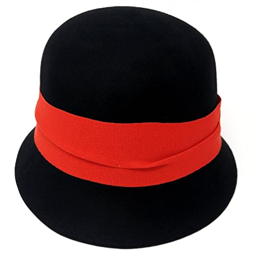 Black Vintage Style Wool Cloche Hat with Red Ribbon Trim 301499bab552