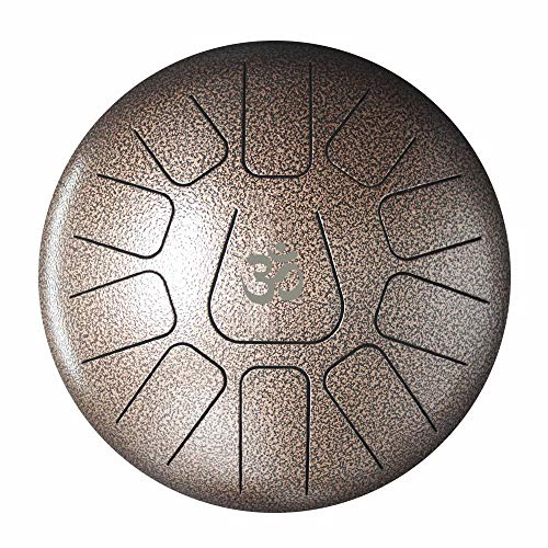 Steel Tongue Percussion Drum Hand Tank Drum Handpan Percussion Brown Colored 11 Notes Padded Travel Carrier+Mallet 10″